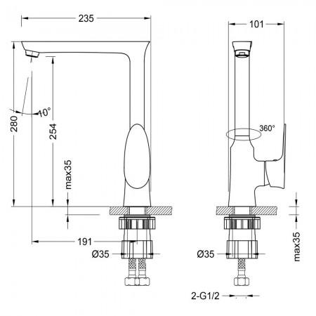Смеситель LEMARK Nero LM0205C для кухни