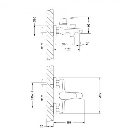 Смеситель LEMARK Point LM0314C для ванны