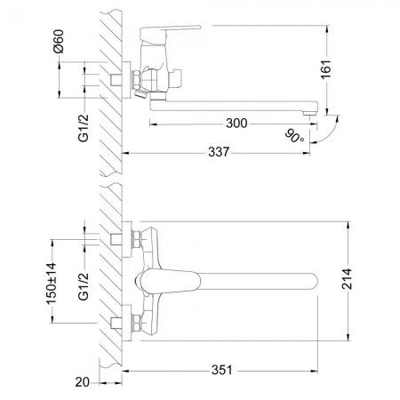 Смеситель LEMARK Point LM0351C универсальный