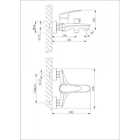 Смеситель LEMARK Linara LM0414C для ванны
