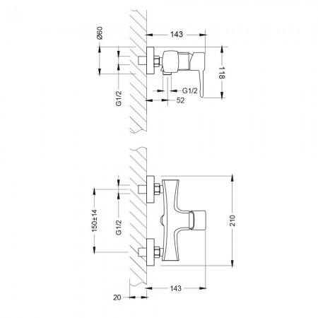 Смеситель LEMARK Evitta LM0503C для душа