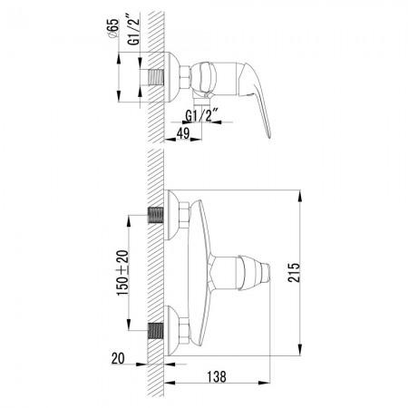 Смеситель LEMARK Plus Advance LM1203C для душа