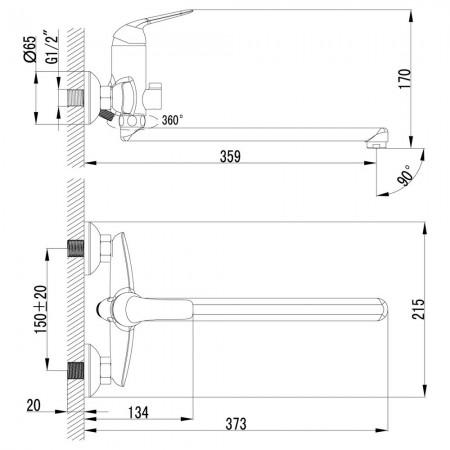 Смеситель LEMARK Plus Advance LM1251C универсальный