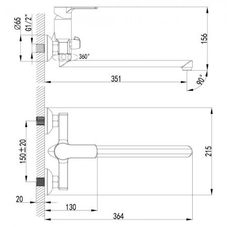 Смеситель LEMARK Plus Grace LM1551C универсальный