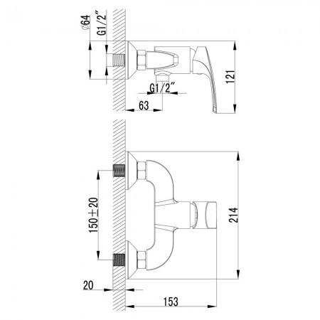 Смеситель LEMARK Plus Shape LM1703C для душа