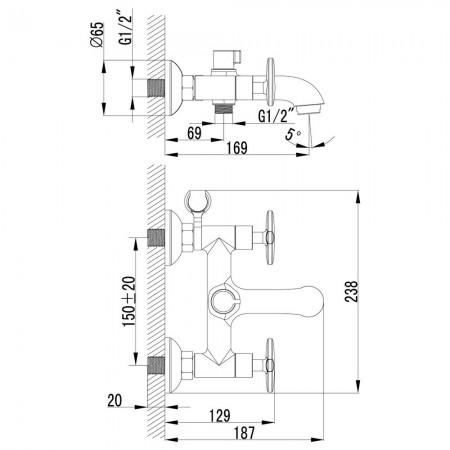 Смеситель LEMARK Plus Spirit LM1912C для ванны