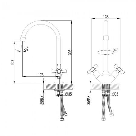 Смеситель LEMARK Benefit LM2505C для кухни