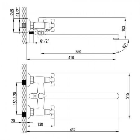 Смеситель LEMARK Benefit LM2512C универсальный