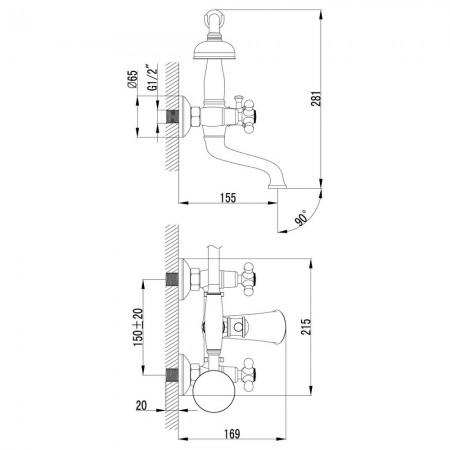 Смеситель LEMARK Vintage LM2812B для ванны
