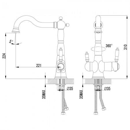 Смеситель LEMARK Comfort LM3065C для кухни с подключением к фильтру