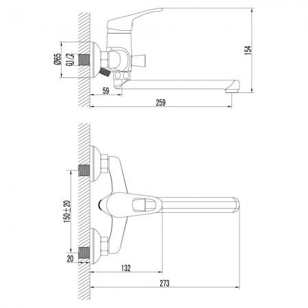 Смеситель LEMARK Omega LM3110C универсальный