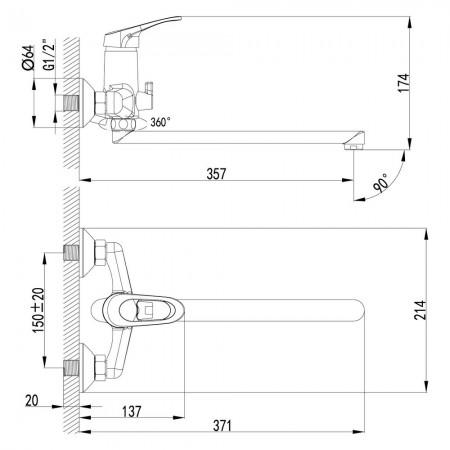 Смеситель LEMARK Omega LM3151C универсальный