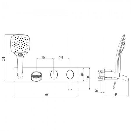 Смеситель LEMARK Atlantiss LM3224C для ванны и душа
