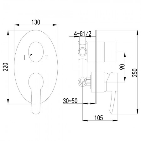 Смеситель LEMARK Atlantiss LM3227C для ванны и душа