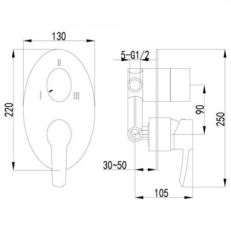 Смеситель LEMARK Atlantiss LM3228C для ванны и душа