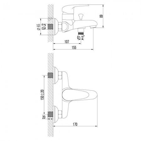 Смеситель LEMARK Pramen LM3302C для ванны