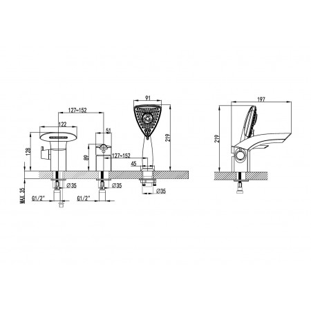 Смеситель LEMARK Mars LM3545C для ванны