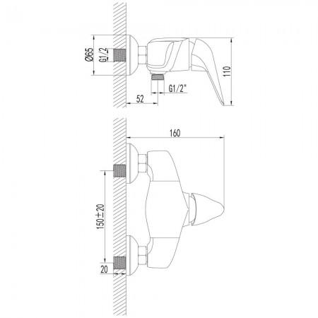 Смеситель LEMARK Poseidon LM4233C для душа