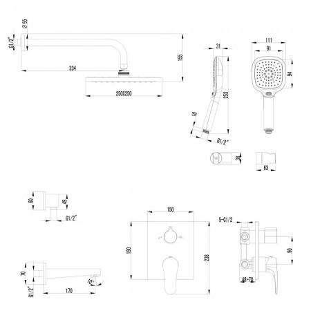 Смеситель LEMARK Shift LM4322C для ванны и душа