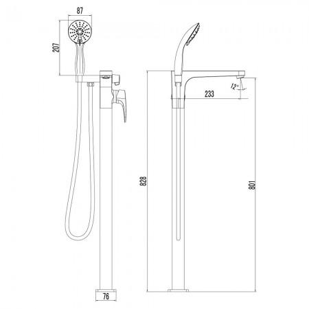 Смеситель LEMARK Shift LM4344C для ванны напольный