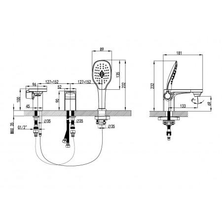Смеситель LEMARK Shift LM4347C для ванны