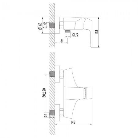 Смеситель LEMARK Unit LM4503C для душа