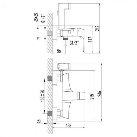 Смеситель LEMARK Unit LM4518C с гигиеническим душем