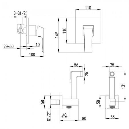 Смеситель LEMARK Unit LM4519C с гигиеническим душем