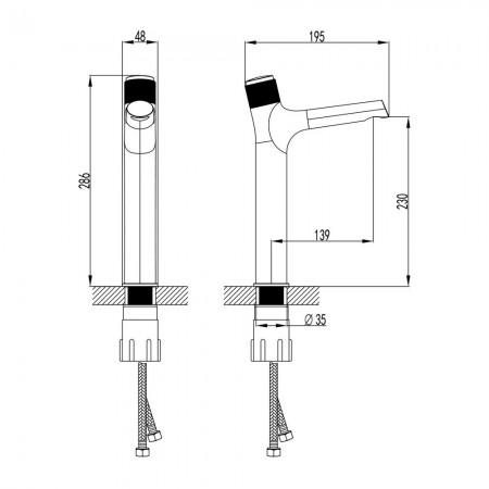 Смеситель LEMARK Project LM4679C для раковины кнопочный
