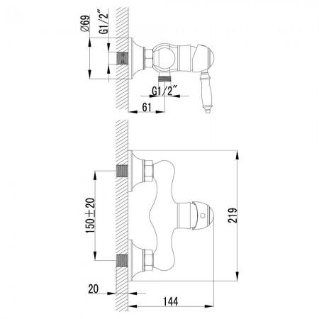 Смеситель LEMARK Villa LM4803B для душа