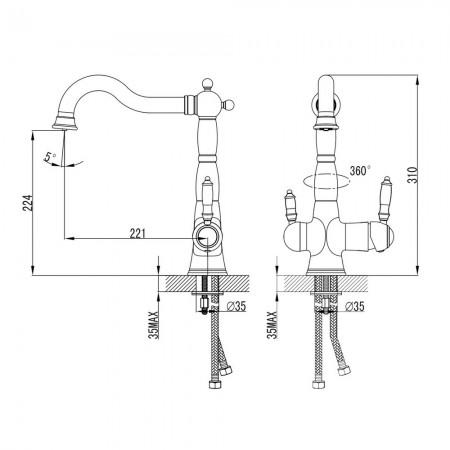 Смеситель LEMARK Villa LM4858B для кухнис подключением к фильтру