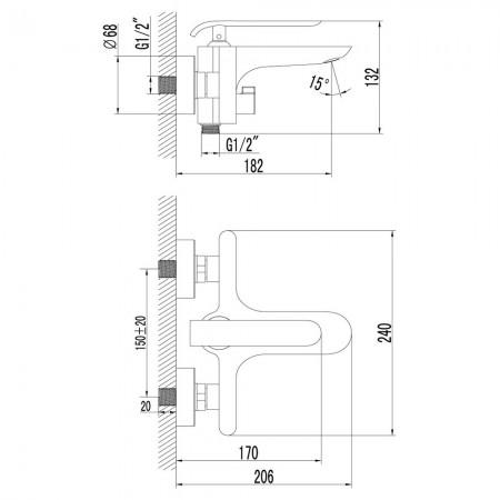 Смеситель LEMARK Melange LM4914CW для ванны