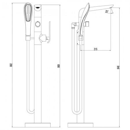 Смеситель LEMARK Melange LM4944CW для ванны напольный