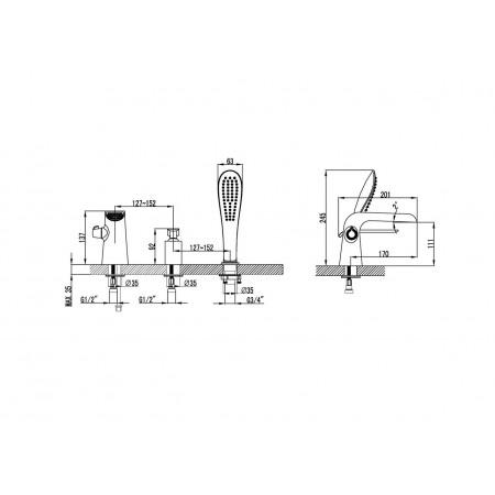 Смеситель LEMARK Melange LM4945CW на борт ванны