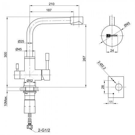 Смеситель LEMARK Expert LM5061G для кухни с подключением к фильтру