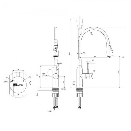 Смеситель LEMARK Expert LM5082S-Black для кухни с гибким изливом