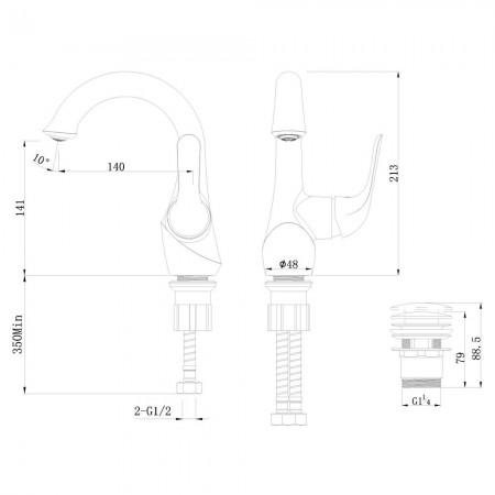 Смеситель LEMARK Swan LM5406BG для раковины