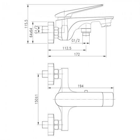 Смеситель LEMARK Allegro LM5914CW для ванны