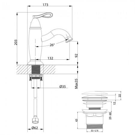 Смеситель LEMARK Prime LM6106BRG для раковины