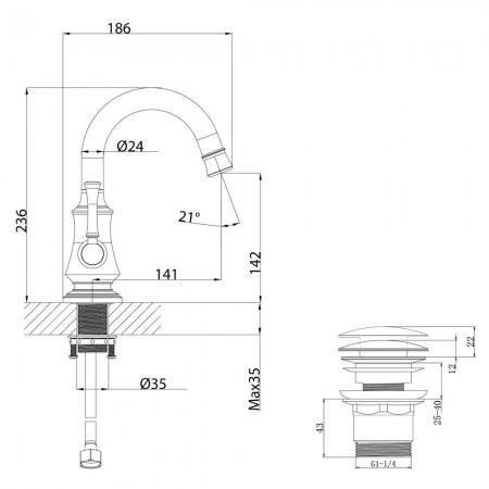 Смеситель LEMARK Peretto LM6307RB для раковины