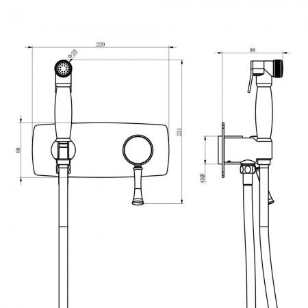 Смеситель LEMARK Peretto LM6319RB с гигиеническим душем встраиваемый