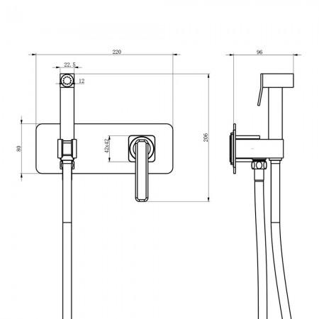 Смеситель LEMARK Mista LM6419WG с гигиеническим душем встраиваемый
