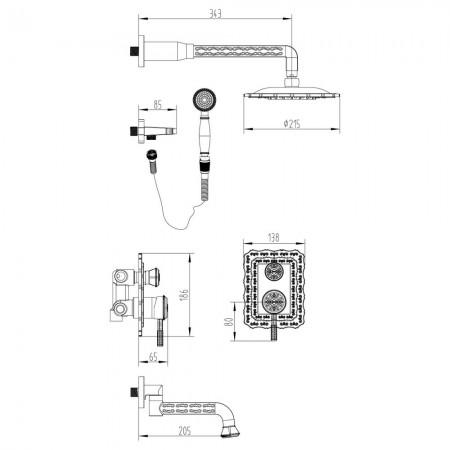 Смеситель LEMARK Jasmine LM6622ORB для ванны и душа