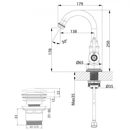 Смеситель LEMARK Spark LM6707RG для раковины