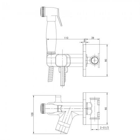 Смеситель LEMARK Solo LM7165G с гигиеническим душем встраиваемый