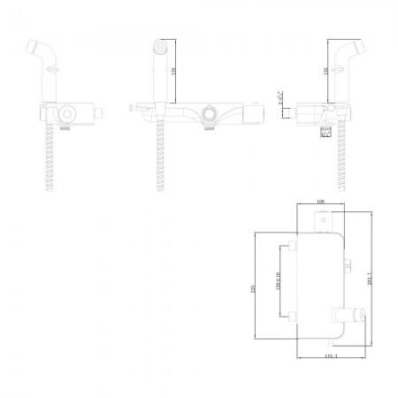 Смеситель LEMARK Solo LM7169CW термостатический с гигиеническим душем