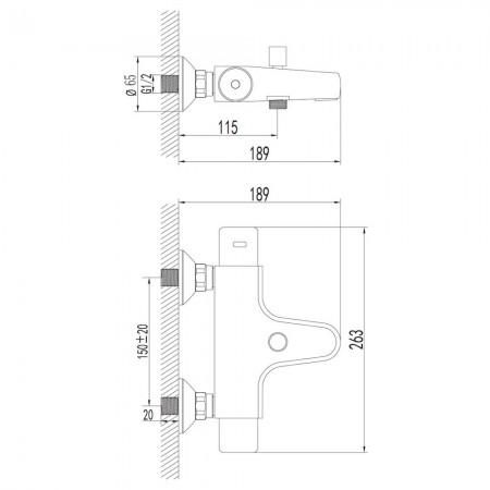 Смеситель LEMARK Thermo LM7732C для ванны термостатический