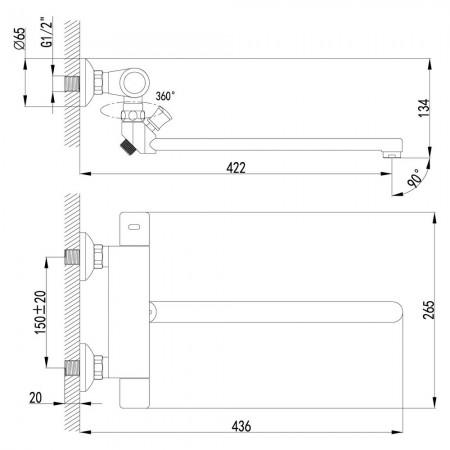 Смеситель LEMARK Thermo LM7734C для ванны термостатический
