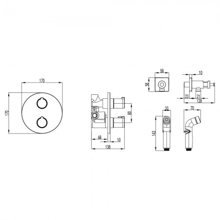 Смеситель LEMARK Yeti LM7819С термостатический с гигиеническим душем