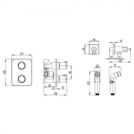Смеситель LEMARK Yeti LM7820С термостатический с гигиеническим душем